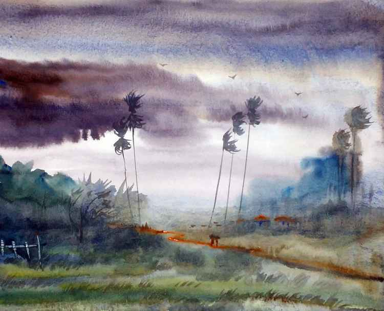 Rural Storm - Watercolor Painting