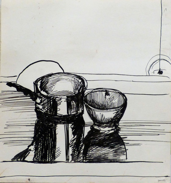 Still Life: Cooking Pot And Bowl #1, 24x25 cm - Image 0
