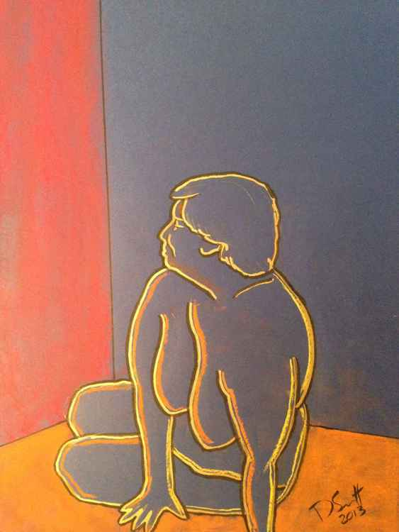 Study of a female nude (blue) II
