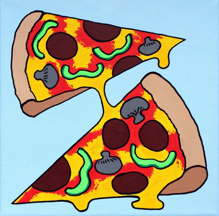 Two Slice Pizza Pop Art Painting On Canvas - Image 0