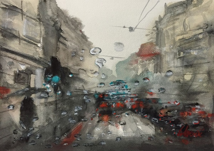 "Rainart - ""Rainy morning lights"" - Image 0"