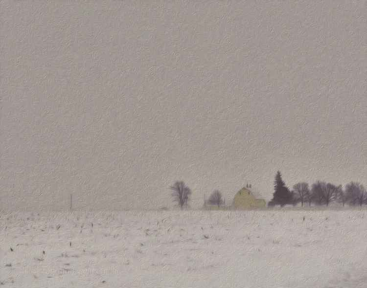 Yellow Barn in a Prairie Snowstorm -