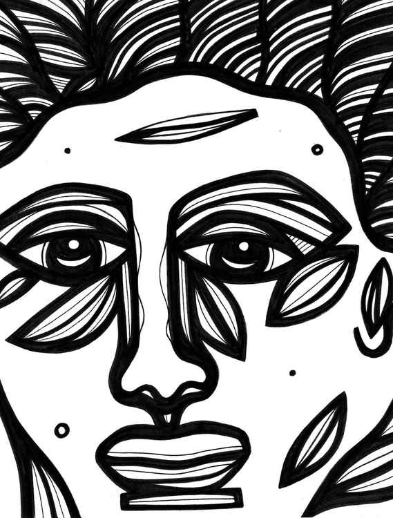 Redolent Face Stare Original Drawing -