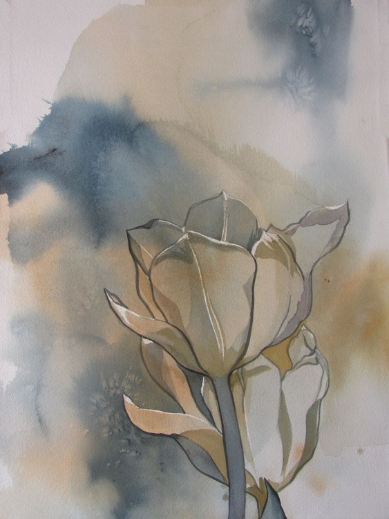 White tulips with blues - Image 0