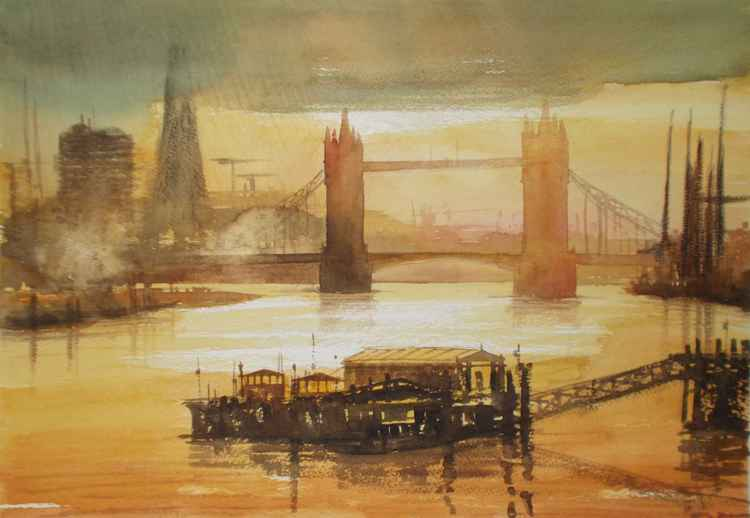 London, Tower bridge at sunset