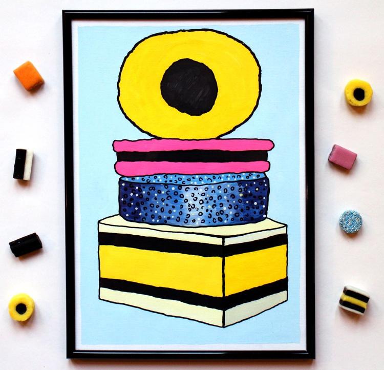 Liquorice Allsorts Tower Pop Art On A4 Paper - Image 0