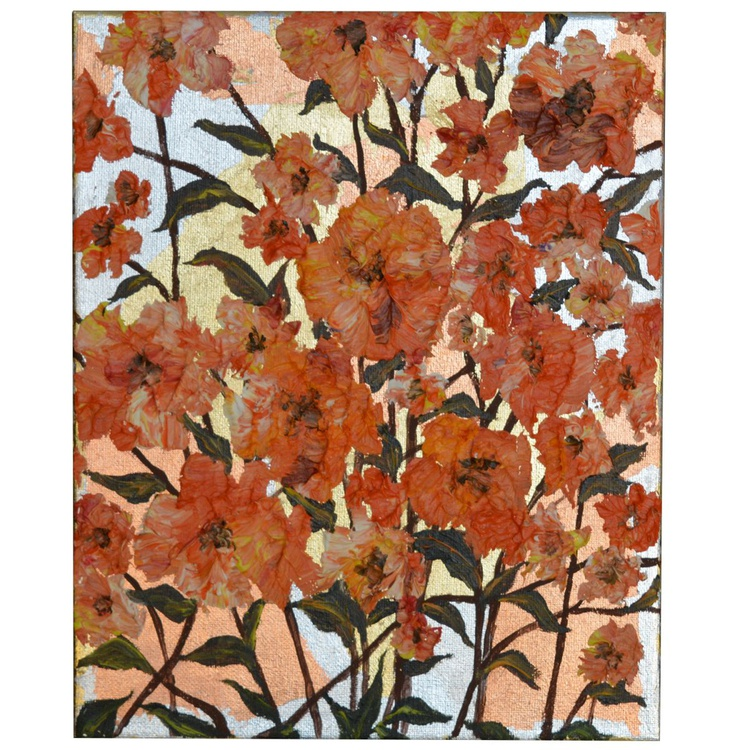 "ORANGE  FLOWERS I - ORIGINAL FLORAL OIL PAINTING IMPASTO WALL ART HOME DECOR 10 x 12 "" - Image 0"