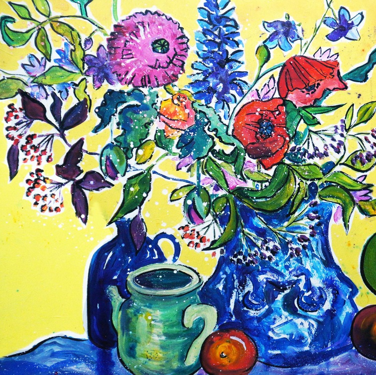 Poppies in a blue vase - Image 0