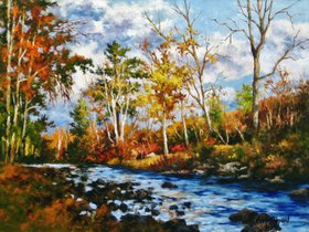October Creek 20 x 24 - Oil by Gary Shepard