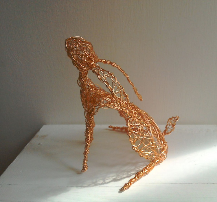 Copper Wirework Moon-gazing Hare - Image 0