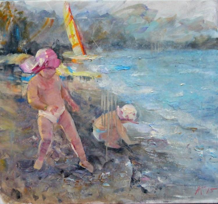 Children, original oil painting, 65x60 cm - Image 0