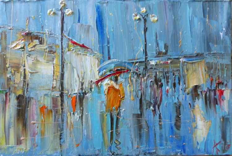 Rain, original oil painting 30x20 cm -