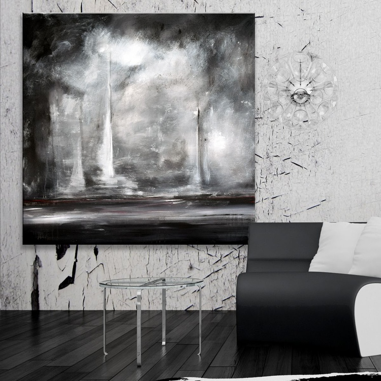 """At the Break of Dawn- 48""""x48"""" Original Large Abstract Landscape in Black, White, Grey - Image 0"""