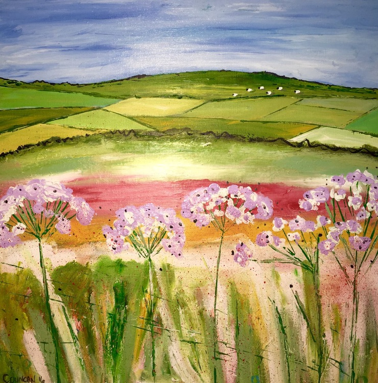 Lilacs in Summer - acrylic landscape countryside - Image 0