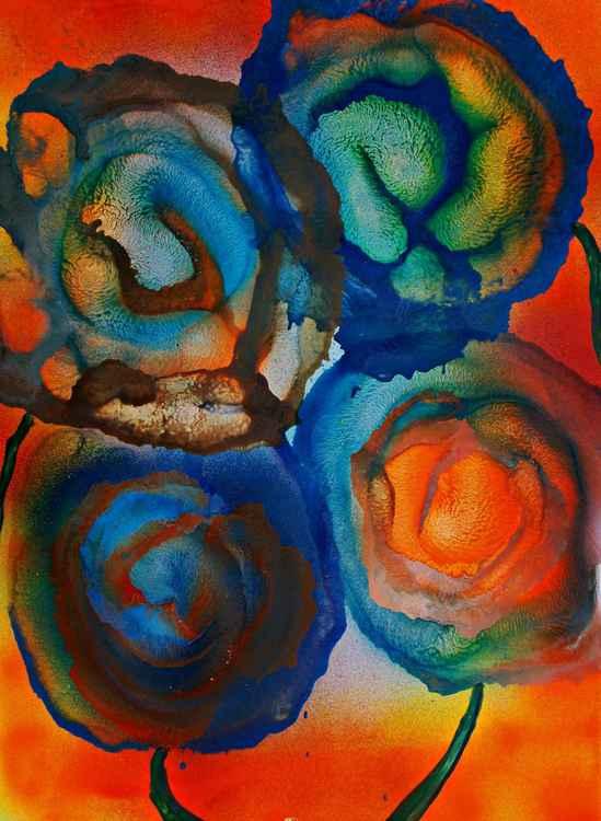 Fleurs abstraites dans le soleil -