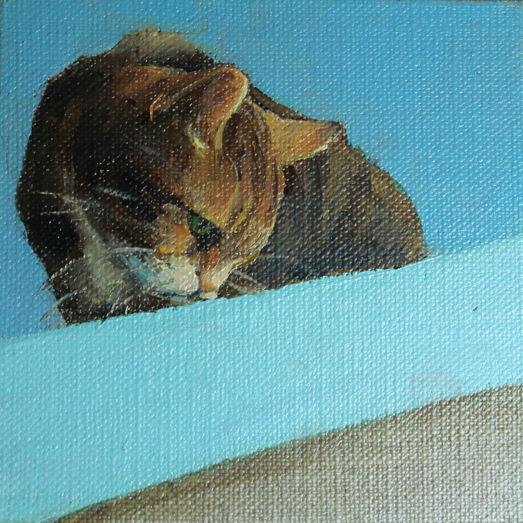 Cat peering from a Shed Roof + Easel - Image 0