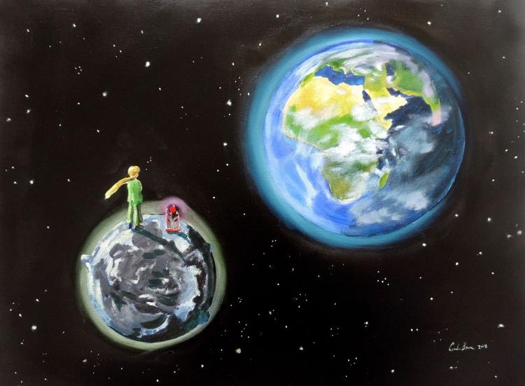 "The Little Prince ""le petit prince"" original painting Gordon Bruce new art - Image 0"