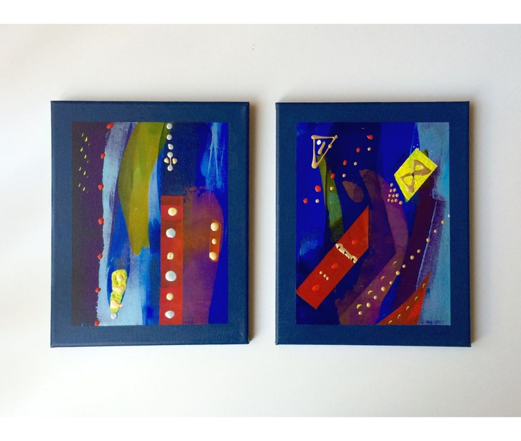 """Set of Two. Title: Abstract Line-out. 12X9"""" (30X23cm) - Image 0"""