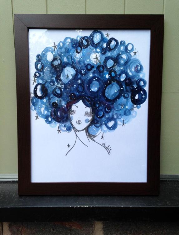 Starry Hair Framed Illustration - Image 0