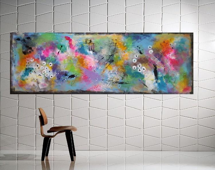 "67''x 23,5""( 170x60cm), Kea Island Landscape,  orange painting , canvas art, home painting - Image 0"