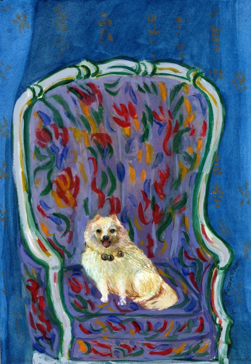 White Toy Dog in Bells - Image 0