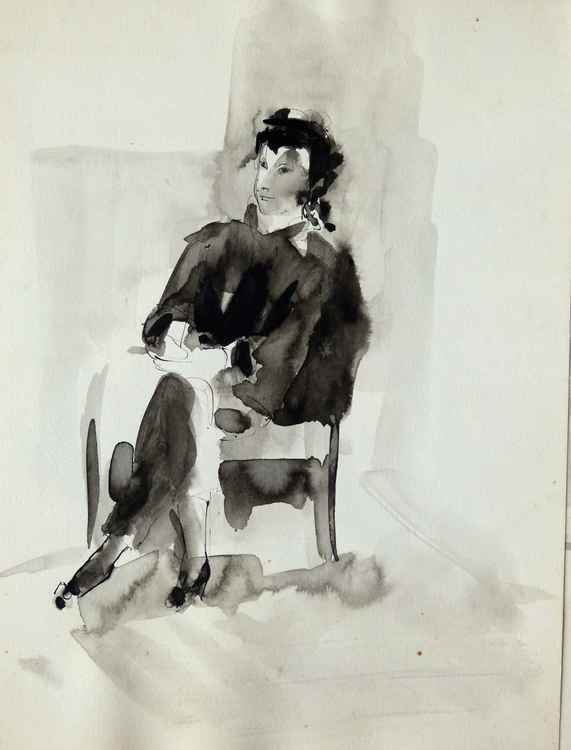 Seated Model 16, 24x32 cm
