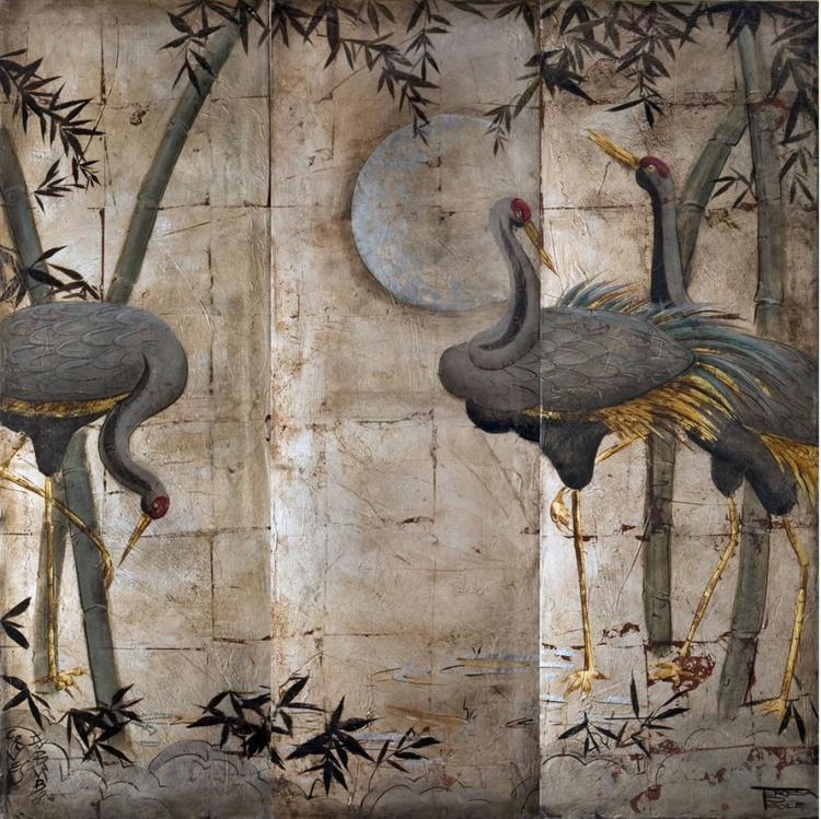 Cranes on silver - Image 0