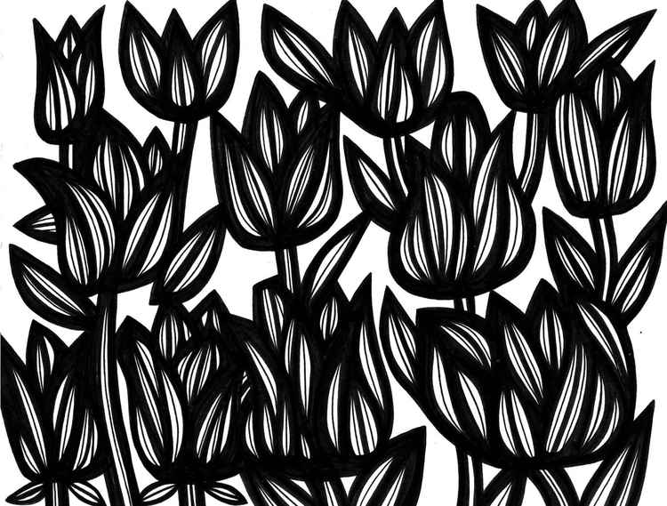 Flowers Propitious Original Drawing -