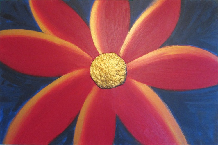 large original abstract flower painting art canvas - 36 x24 inches - Image 0