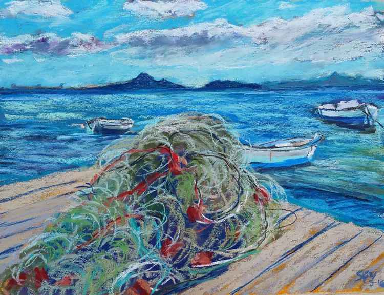 Fishing nets and boats in the Mar Menor. -