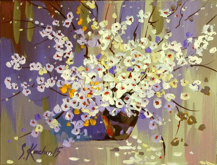 spring bouquet for the beloved. original painting 27,5x21 cm - Image 0