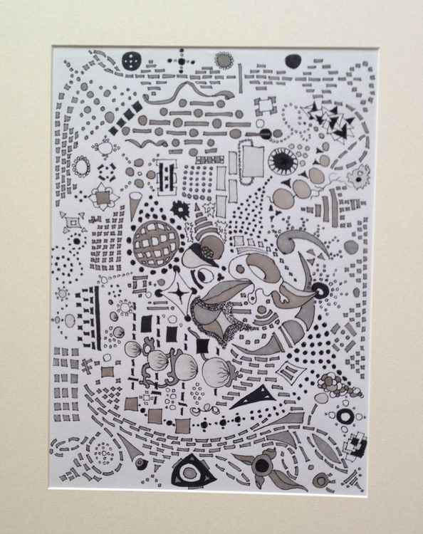 Original ink on paper abstract -