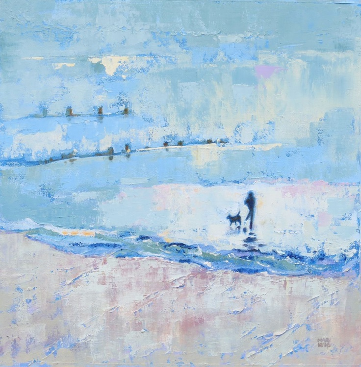 Beach Painting. Walk with the Dog. Quiet at Last. - Image 0