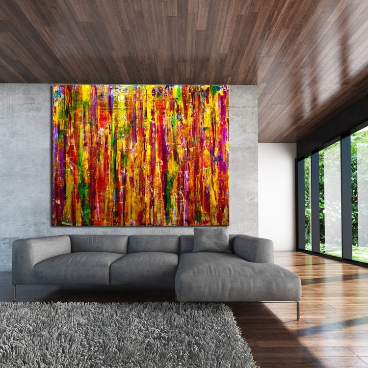 Interference Colorfield (Golden Landscape) - Oversized statement piece! - Image 0