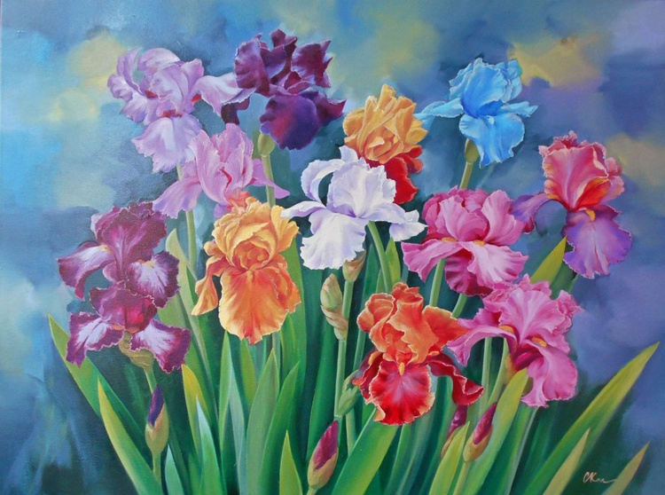 Irises/Original oil on canvas/Free Shipping - Image 0