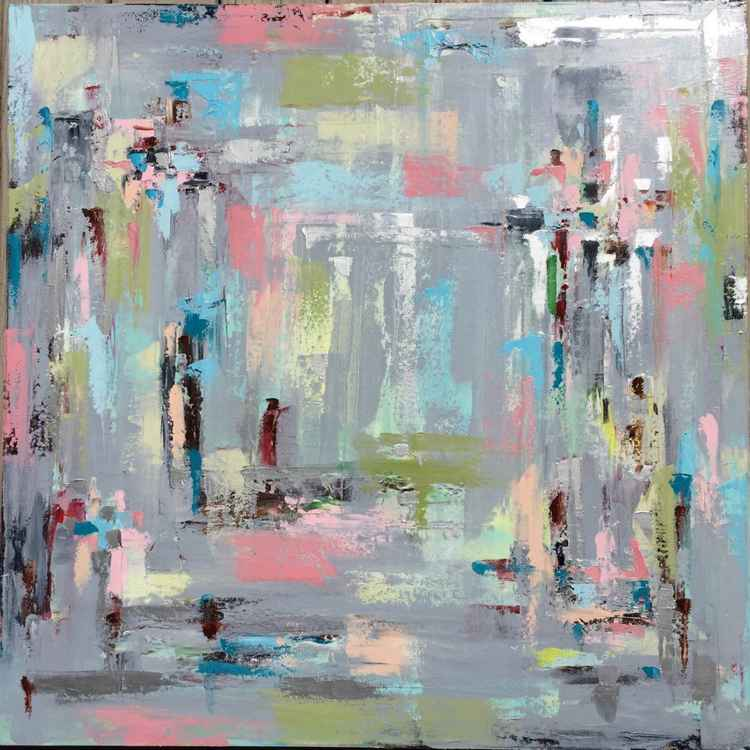 "Abstract in gray pastel and metallic 36""x36"" -"