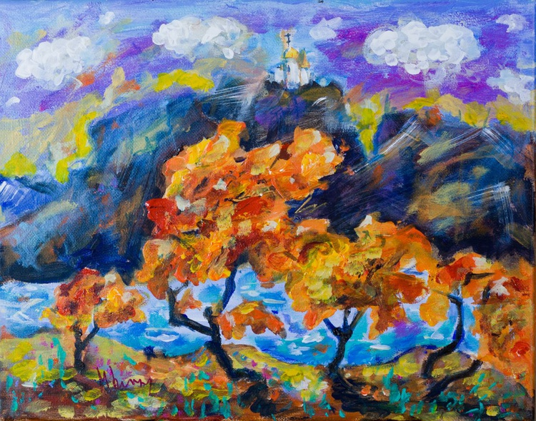 Autumn landscape with a white church - Image 0