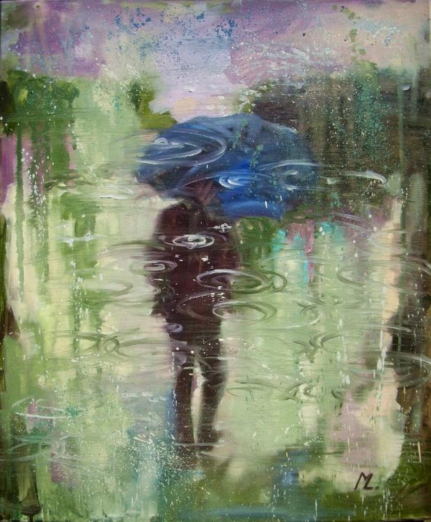 """ RAIN MAN "" original painting CITY STREET RAIN - Image 0"