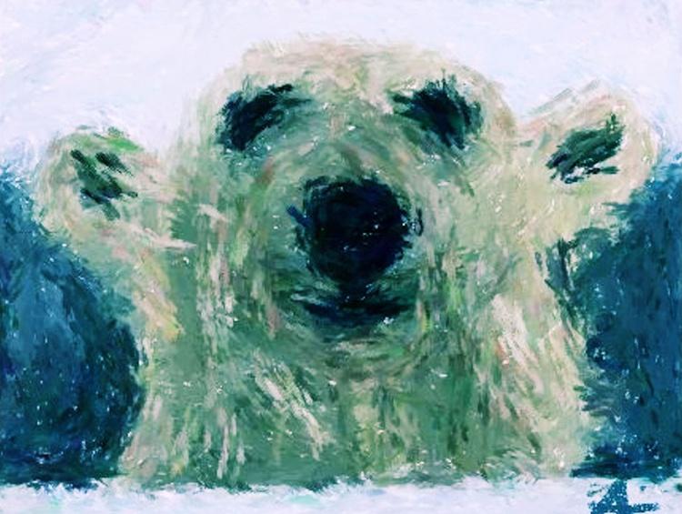 Polar Bear - Large - Monoprint on Forex Board - 23.62 x 17.72 - FREE SHIPPING - Image 0