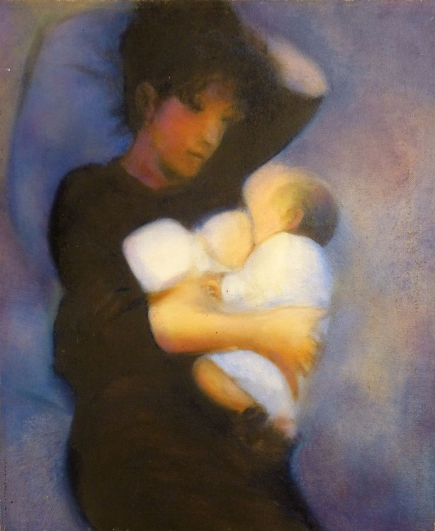Mother and son 2, oil on canvas 60x75 cm - Image 0