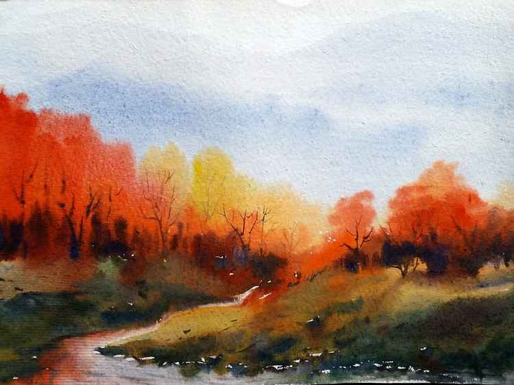 Autumn Forest & Himalaya Mountain - Watercolor on Paper