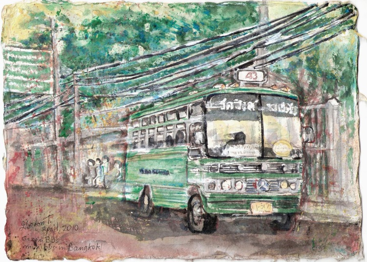 Green Bus, mini bus in Bangkok - Image 0