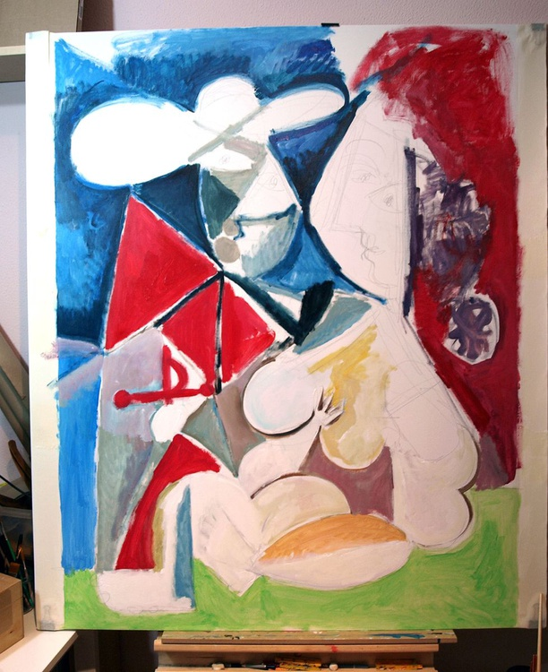 The matador and the woman (2) - inspired by Picasso, 48 x 34.6 inches - Image 0