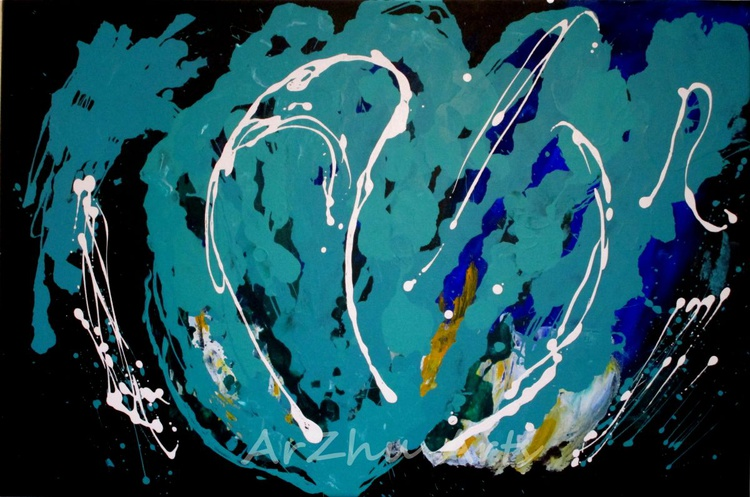 Odyssey - Turquoise and Black Abstract Art - Image 0