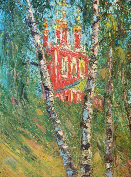 birch, original painting, 60x80 cm - Image 0