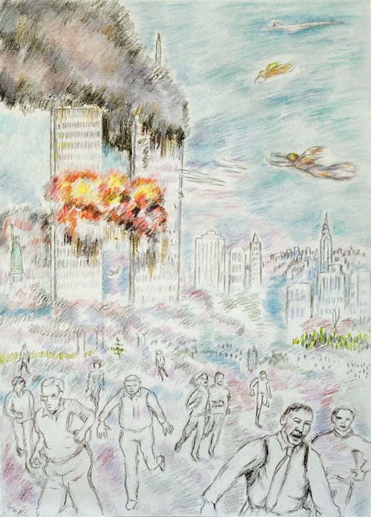 Twin Towers attack with Angels (first drawing) - Image 0