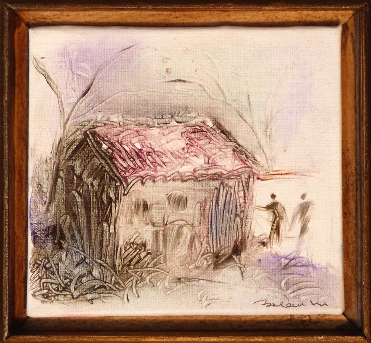 Country cottage, miniature oil painting on canvas 12x11 cm framed and ready to hang - Image 0