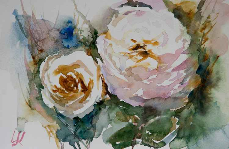"""two roses"", original watercolor painting, 28x19cm -"