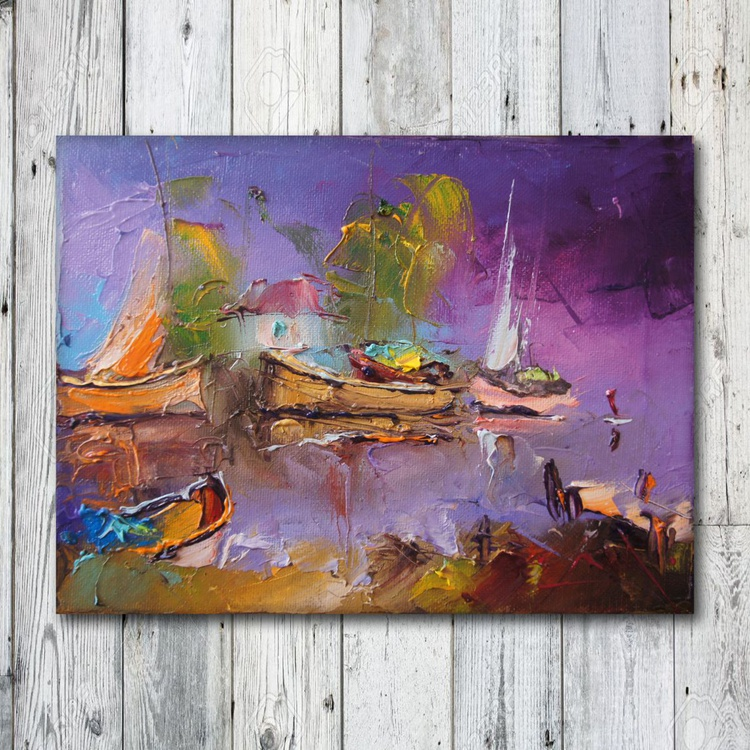 Fishing village, Oil Painting, free shipping - Image 0