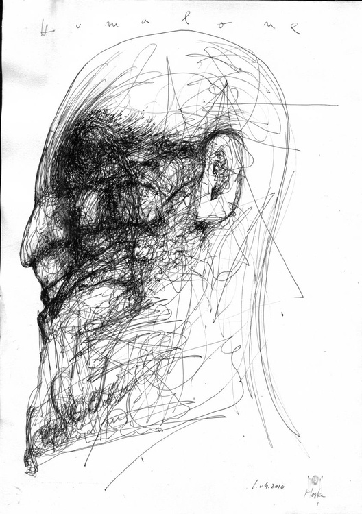 HUMAN FACE EXPRESSIVITY LOST MEMORY HUMANITY ABOUT PASSING TIME MASTER OVIDIU KLOSKA SPONTANEOUS INK PAPER - Image 0